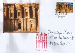 Al-Khazneh Petra  (timbre Unesco)  Sur Lettre Bas-Rhin. France - Archaeology