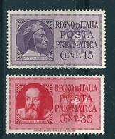 REGNO - 1933 - Posta Pneumatica Sass. 14/15 Serie Cpl. 2v. Nuovi** - Correo Neumático