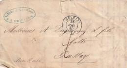 ///  FRANCE  -- Enveloppe  Courrier ORLEANS  ANGERVILLE 1849 - Facture Effilage De Bois De Teinture Ets REBU - Marcophilie (Lettres)