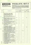 KAT245 Modellbau-Preisliste GAMA, 1977/1, Neuwertig - Littérature & DVD