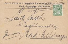 Great Britain F. A. BROCKHAUS Brockhaus & Pehrsson BULLETIN De COMMANDE Book Order LONDON 1914 Card Karte (2 Scans) - Covers & Documents