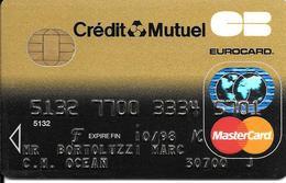 -CARTE+-PUCE-MAGNETIQUE-CB-CREDIT CREDIT MUTUEL -MASTERCARD-10/98--ICA- 1031-RUWAPLAST-06/96-TBE-RARE - France