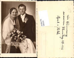 589319,Foto-AK Hochzeit Paar Bräutigam Braut Brautkleid - Hochzeiten