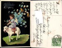 589183,tolle AK Ostern Esel Glocken Engel Osterengel - Ostern