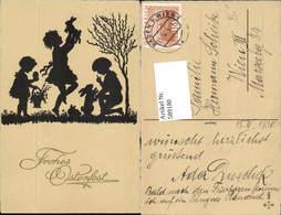 589180,tolle AK Ostern Scherenschnitt Silhouette Kinder Hasen - Ostern
