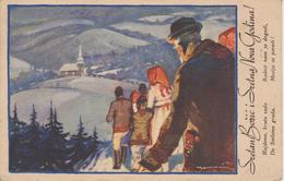 BO256   --  SRETAN BOZIC  ~  WEIHNACHTEN, PERE NOEL, CHRISTMAS  ~   FROM CROATIA  ~~ 1937  ~  A. MAUROVIC - Santa Claus
