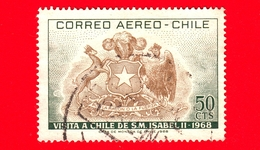 CILE - Usato - 1968 - Visita Della Regina Elisabetta II - Stemmi Araldici - 50 - P. Aerea - Cile