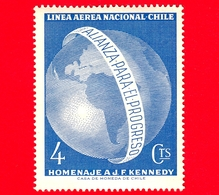 Nuovo - CILE - 1964 - Emisfero Occidentale In Memoria Di John F. Kennedy - Mappamondo - 4 - P. Aerea - Cile