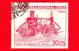 CILE - Usato - 1963 - Centenario Dei Vigili Del Fuoco Di Santiago - Fireman - Fire Engine Of 1860's - 30 P. Aerea - Cile