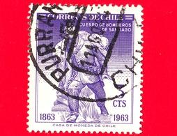CILE - Usato - 1963 - Centenario Dei Vigili Del Fuoco Di Santiago - Fireman  - 3 - Cile