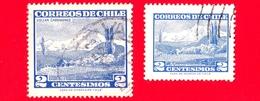 CILE - Usato - 1961+1962 - Turismo - Vulcano Choshuenco - 2 (small) + (large) - Cile