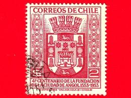 CILE - Usato - 1954 - 400 Anni Della Città Di Angol - Stemmi Araldici - Arms - 2 - Cile