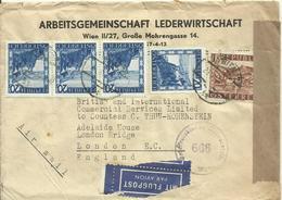 1947  Zensurbrief Mit Flugpost Von Wien Nach London - 1945-.... 2. Republik