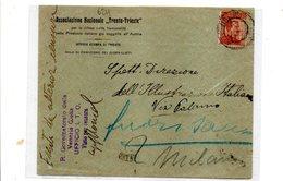 """LAB624 - REGNO 1918 , Busta Intestata """"Associazione Trento Trieste"""" .Tampone Governatorato Della Venezia Giulia - 1900-44 Vittorio Emanuele III"""