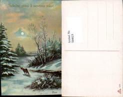 584823,Lithographie Neujahr Fuchs Sign. Barnas - Neujahr