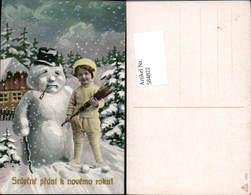 584822,Lithographie Neujahr Kind Schneemann - Neujahr