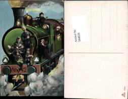 584820,Lithographie Neujahr Lokomotive Eisenbahn Lok Rauchfangkehrer Schornsteinfeger - Neujahr