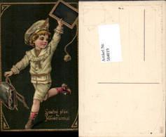 584819,Lithographie Neujahr Junge Tasche Goldverzierung - Neujahr