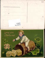 584815,Lithographie Goldverzierung Neujahr Spielwürfen Würfel Klee - Neujahr