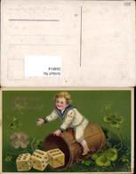 584814,Lithographie Goldverzierung Neujahr Spielwürfen Würfel Klee - Neujahr