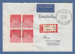 Bund 1961 Dom Zu Speyer ER-Viererblock UL Auf FDC Mit Sonder-O BONN - [7] Repubblica Federale