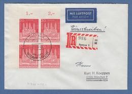 Bund 1961 Dom Zu Speyer ER-Viererblock OL Auf FDC Mit Sonder-O SPEYER - [7] Repubblica Federale