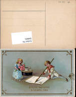 584805,Lithographie Goldverzierung Neujahr Tintenfass Kinder Füllfeder - Neujahr