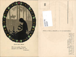 583567,Künstler AK Scherenschnitt Silhouette Gerda Luise Schmidt 185 - Scherenschnitt - Silhouette