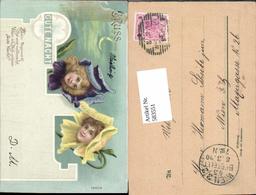 583551,Lithographie Neujahr Gute Nacht Blumenköpfe Köpfe Blumen - Neujahr