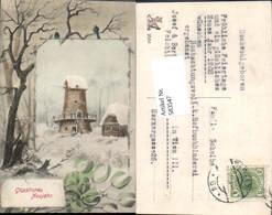 583547,Lithographie Neujahr Windmühle Mühle - Neujahr