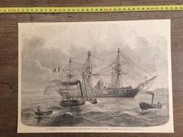 DOCUMENT GRAVURE 1871 DEPART DES CONDAMNES A LA DEPORTATION NOUVELLE CALEDONIE LA GUERRIERE FREGATE - Old Paper