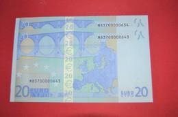 2x 20 EURO PORTUGAL - U018F5 - NICE Pareja Radar M83700000634 / M83700000643 Perfect UNC - EURO