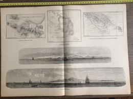 DOCUMENT GRAVURE 1871 VUE ILE DES PINS PRESQU ILE DUCOS CARTE NOUVELLE CALEDONIE - Old Paper