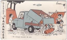 D1448 HUMOUR D'ESTIVANT - MESSAGE DE VACANCES EN CARTE DOUBLE - ILLUSTRATION SIGNÉE (HARVEC ?) - Humour