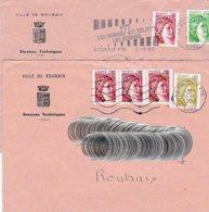 L4U246  Sabines 2 Lettres Ville De Roubaix 1980  / 2 Env.  Ent. Mairie Roubaix - 1977-81 Sabine De Gandon