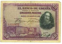 SPAGNA - 50 PESETAS - QUALITA' B - ANNO 1928 SERIALE L 1032876 - WYSIWYG - [ 1] …-1931 : Prime Banconote (Banco De España)