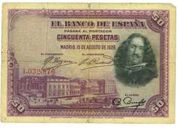 SPAGNA - 50 PESETAS - QUALITA' B - ANNO 1928 SERIALE L 1032876 - WYSIWYG - 50 Pesetas