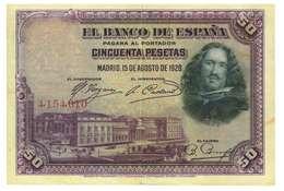 SPAGNA - 50 PESETAS - QUALITA' B - ANNO 1928 SERIALE  4154610 - WYSIWYG - 50 Pesetas