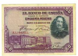 SPAGNA - 50 PESETAS - QUALITA' B - ANNO 1928 SERIALE  A3115685 - WYSIWYG - [ 1] …-1931 : Prime Banconote (Banco De España)