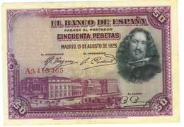 SPAGNA - 50 PESETAS - QUALITA' B - ANNO 1928 SERIALE  A 5413465 - WYSIWYG - [ 1] …-1931 : Eerste Biljeten (Banco De España)