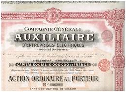 Action Ancienne - Compagnie Générale Auxiliaire D'Entreprises Electriques - Titre De1909 - N°35892 - Electricité & Gaz