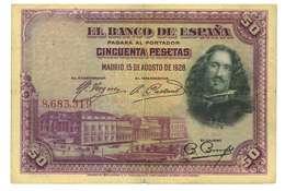 SPAGNA - 50 PESETAS - QUALITA' B - ANNO 1928 SERIALE  8683319 - WYSIWYG - [ 1] …-1931 : Eerste Biljeten (Banco De España)