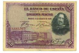 SPAGNA - 50 PESETAS - QUALITA' B - ANNO 1928 SERIALE  8683319 - WYSIWYG - [ 1] …-1931 : Prime Banconote (Banco De España)