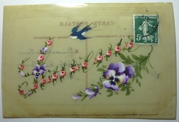 CARTE FANTAISIE EN CÉLLULOÏD PEINTE A LA MAIN - SOUVENIR - Cartes Postales