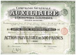 Action Ancienne - Compagnie Générale Auxiliaire D'Entreprises Electriques - Titre De1909 - N°05953 - Electricité & Gaz