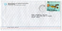 DJIBOUTI-AIR MAIL COVER TO ITALY 1989 / BANK OF CREDIT AND COMMERCE INTERNATIONAL /THEMATIC STAMP-ULTRALIGHT AIRCRAFTS - Gibuti (1977-...)