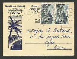 """NICE / Carte Commerciale """" Graines Pour Semences Ets REGINA """" / Affr. Paire 6F Lourdes 1955 - Marcophilie (Lettres)"""