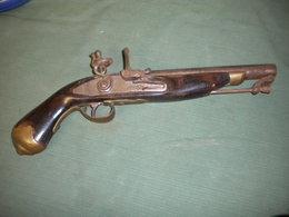 Belle Replique Ancienne De Pistolet A Silex Anglaise - Armes Neutralisées