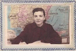FOTO MUJER  MAPA DE FONDO ESPAÑA CIRCA 1930s COLORISE SIZE 15x10cm - BLEUP - Persons