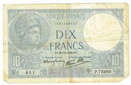 FRANCIA  - 10 FRANCHI - QUALITA' B - ANNO 1939 SERIALE 451 - P 75260 - WYSIWYG - 1871-1952 Antichi Franchi Circolanti Nel XX Secolo
